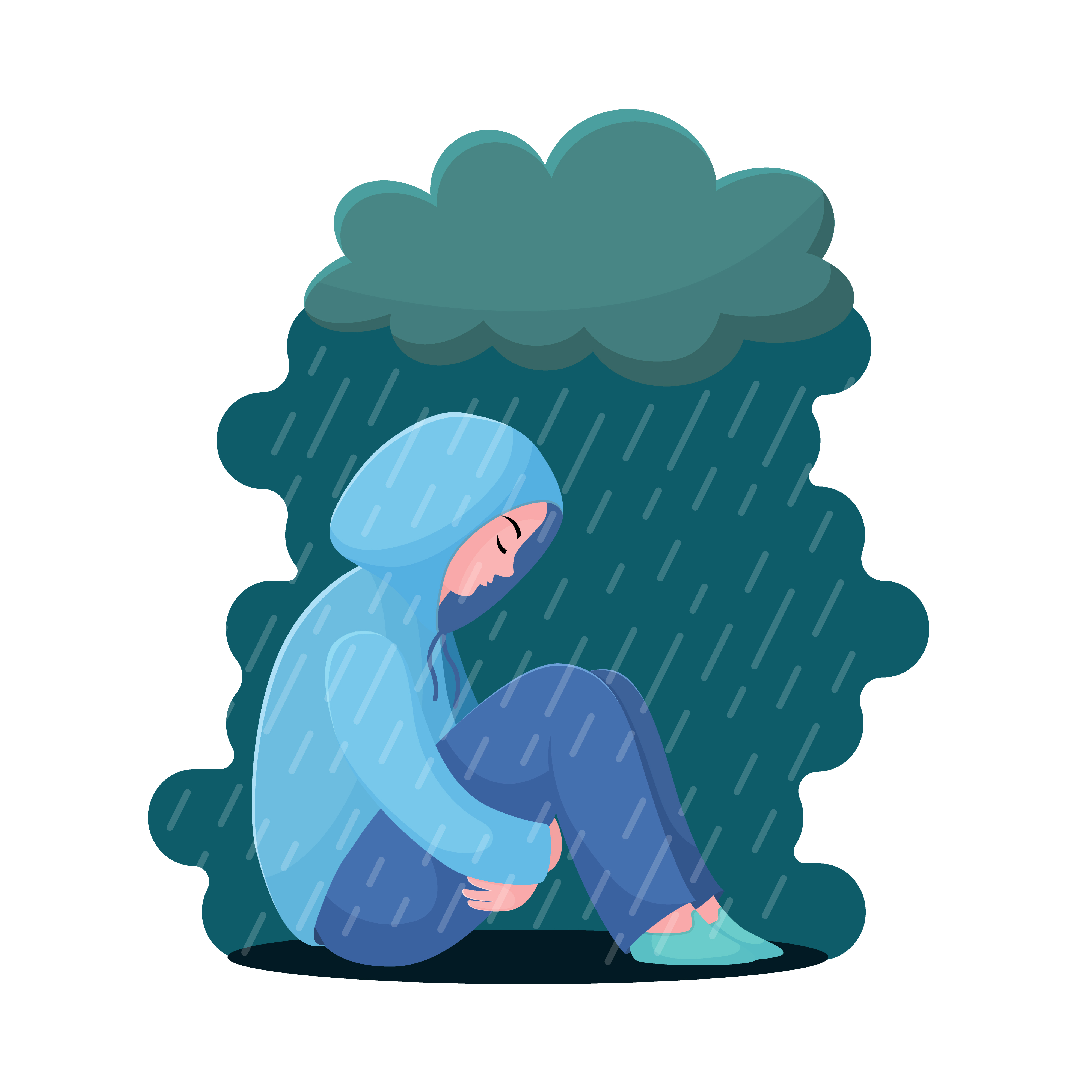 Sad, unhappy teenage girl, young woman sitting in hoodie under rain